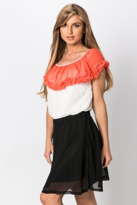 Frill Neckline Colour Block Dress
