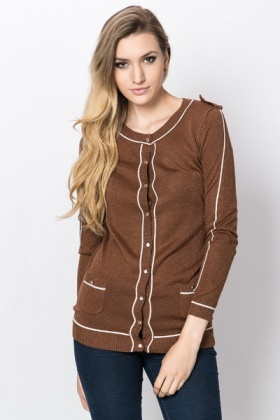 Metallic Golden Button Cardigan