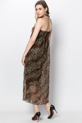 Animal Print Halterneck Maxi Dress