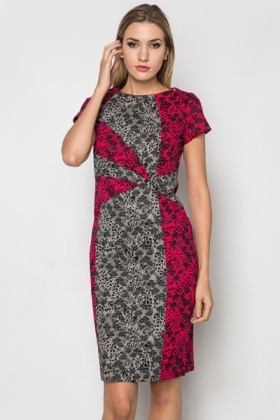 Rose Grid Structured Dress