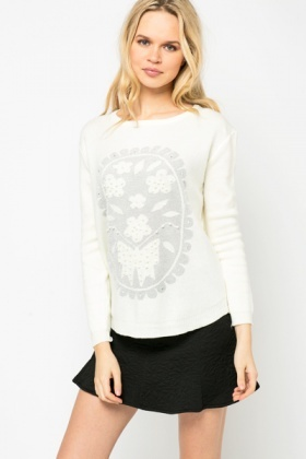 Faux Pearl Embellished Lurex Jumper