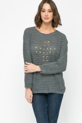 Studded Cross Perforated Sweater