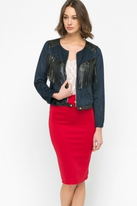 PU Trim Tassel Jacket