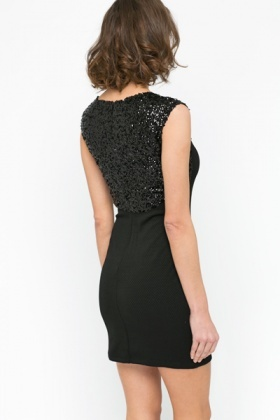 Sequin Insert Textured Dress