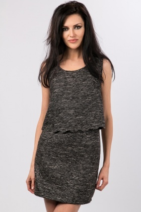 Wave Cut Out Metallic Dress