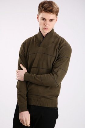 Shawl Collar Thin Stripe Pullover