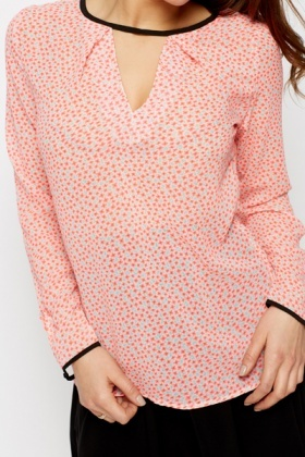 Cut-Out Ditsy Print Blouse