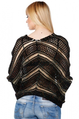 Metallic Fiber Stripes Batwing Cardigan