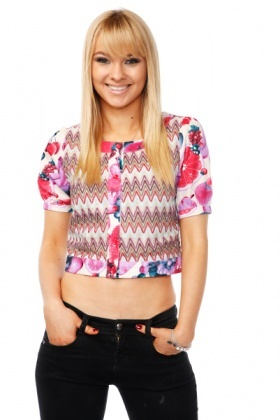 Colourful Fruits Pattern Cropped Blazer