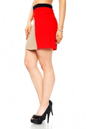 Contrast Panel Crepe Skirt