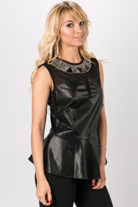 Embellished Neckline Faux Leather Peplum Top