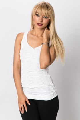 Lace Trim Shirred Top