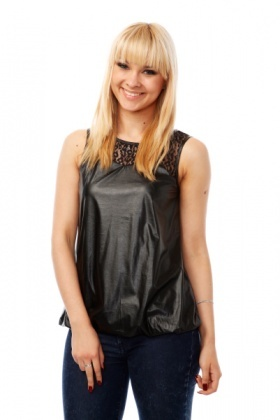 Lace & Faux Leather Bubble Top