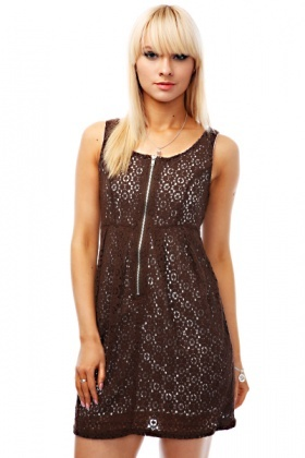 Zipper Lace Dress