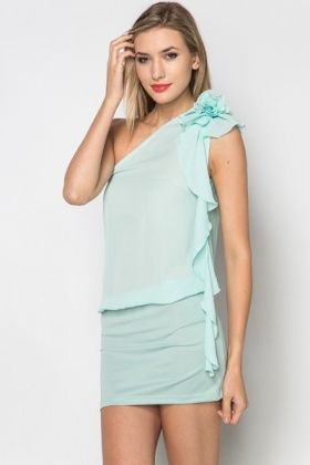 One Shoulder Flower Frill Dress