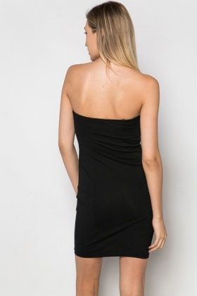 Faux Leather Trim Bandeau Dress