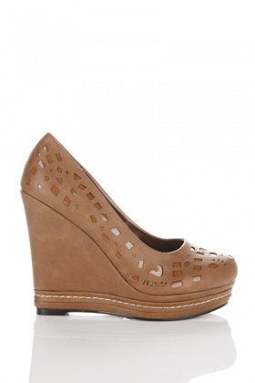 Laser Cut Faux Leather Wedge Shoes