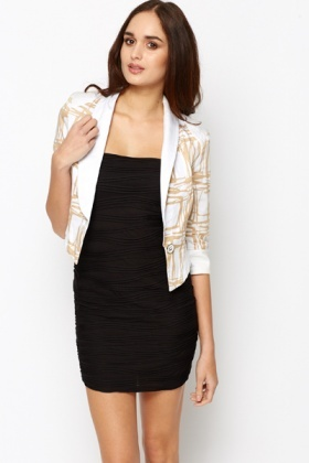 Graphic Crop Blazer