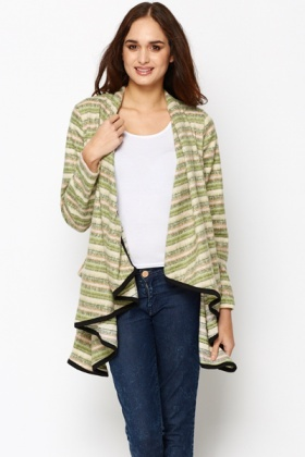 Fleece Striped Waterfall Cardigan - Just £5