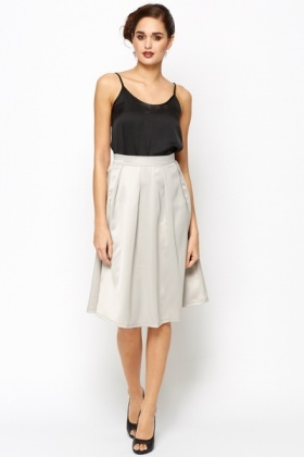 Box Pleat Satin Skirt