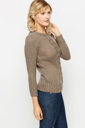 Cable Knit Trim Speckled Jumper