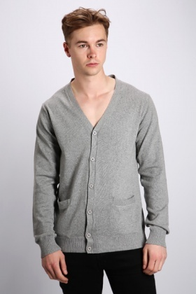 V-Neck Basic Cardigan