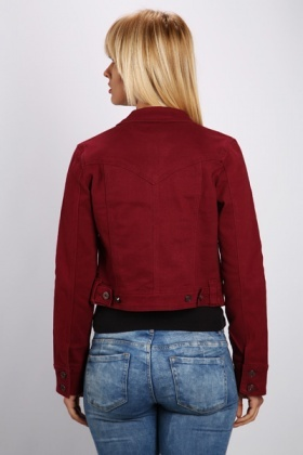 Maroon Denim Jacket