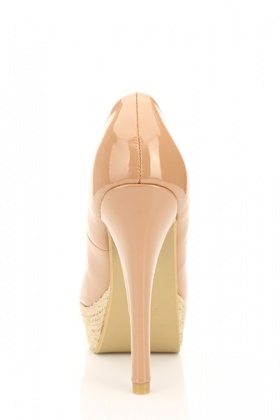 Patent PVC Espadrille Peep Toe Shoes