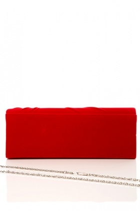 Draped Velour & Encrusted Flower Clutch