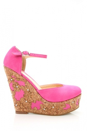 Cork Flower Embellished Suede Shoes
