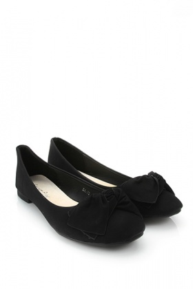 Matte Faux Leather Twist Bow Flats