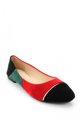 Multicolour Velour Panels Flats