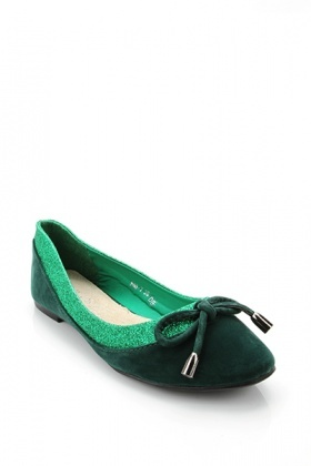 Glitter Top Trim Velour Flats