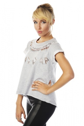 Twisted Cut Out Detail Fleece Top
