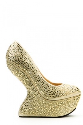Diamante Studded & Curved Wedge Shoes