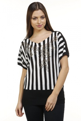 Embellished Panel Striped Pullover