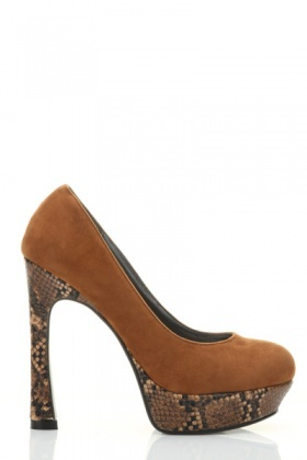 Mock Croc Platform Suedette Court Shoes