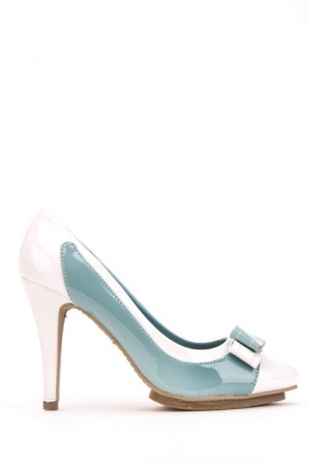 PVC Bow Colourblock Pointed Toe Shoes