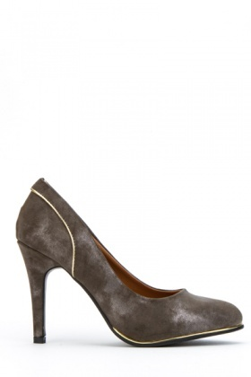 Metallic Suedette Gold Trim Heel Shoes