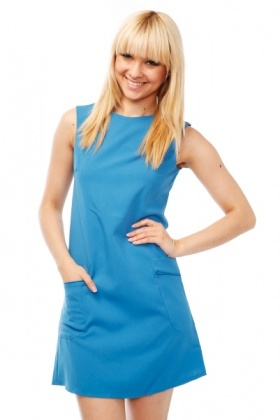 Zipped Pockets Shift Dress