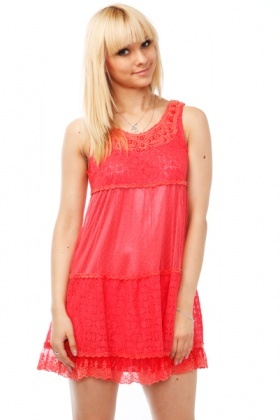 Beaded Crochet Lace & Mesh Dress