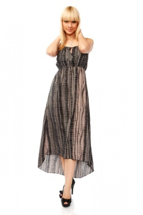 Reptile Print Dip Hem Maxi Dress