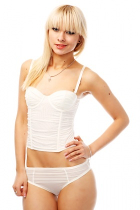 Ruched Cap Corset & Briefs Set