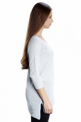 Metallic Fiber Side Split Knit Top