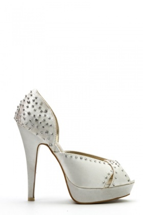 Wave Cut Out Encrusted Heels