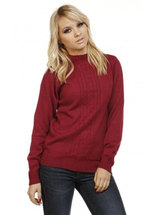 Cable Knit Design Front Panel Pullover