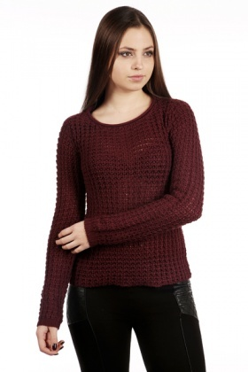 Round Neck Open Knit Sweater