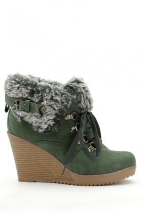 Folded Faux Fur Wedge Boots