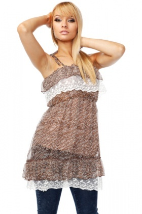 Lace Ruffles shoulders Ties Tunic