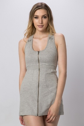 Zip Front Casual Dress